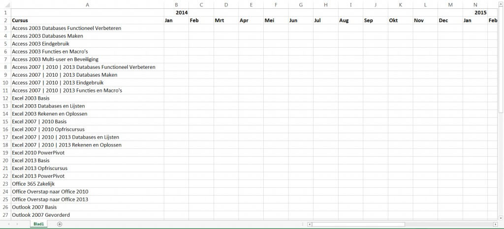 Excel titels blokkeren