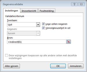 Gegevensvalidatie in Excel 2