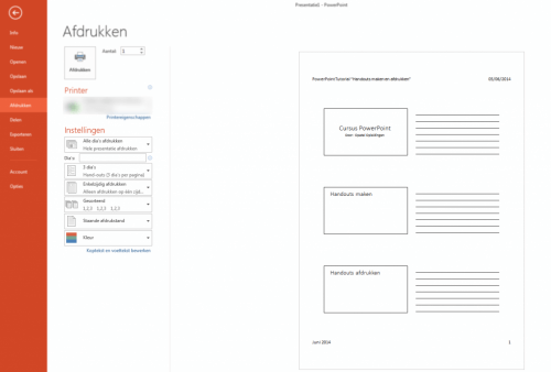 handouts maken en printen in powerpoint