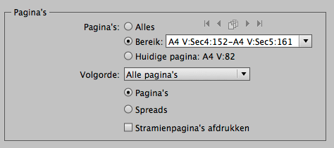 Paginabereik afdrukken in InDesign