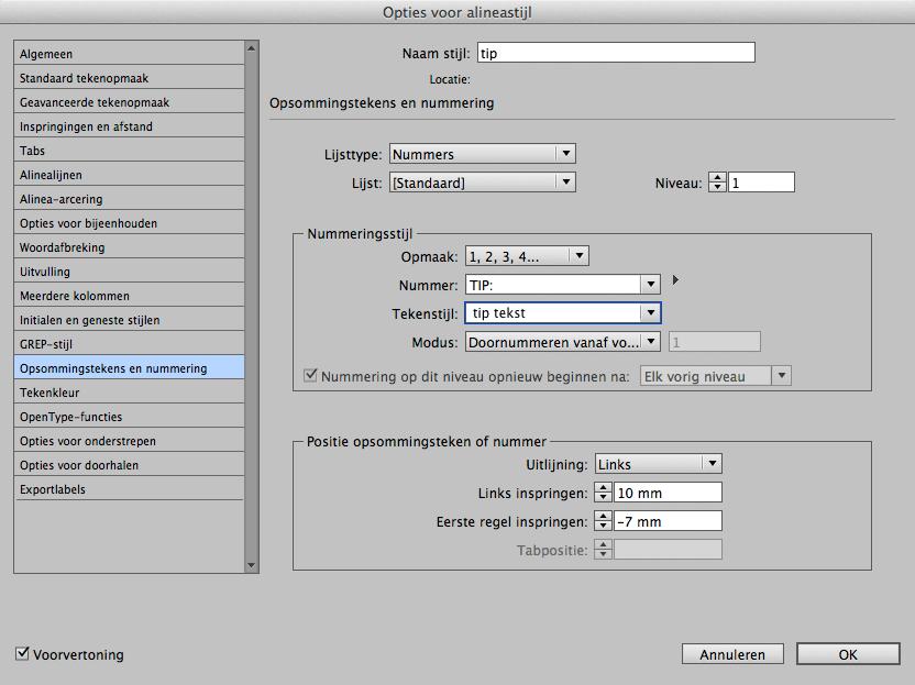 Opsommingstekens en nummering in InDesign