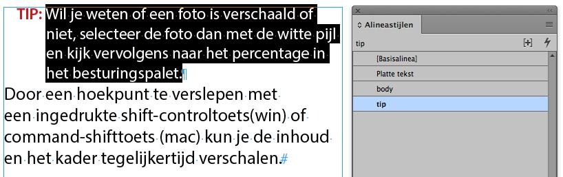 Alineastijl toepassing in InDesign