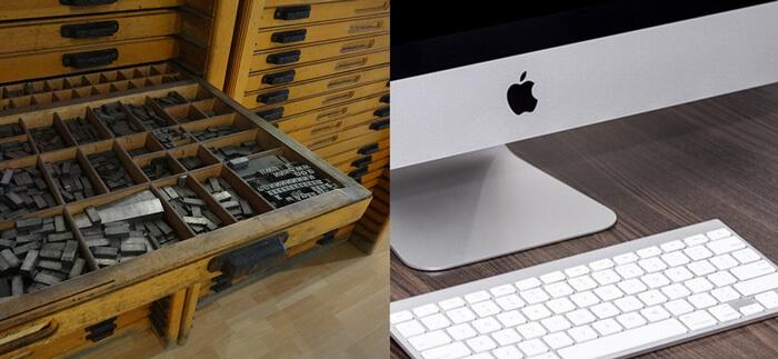 Zetbok, letterkast en iMac